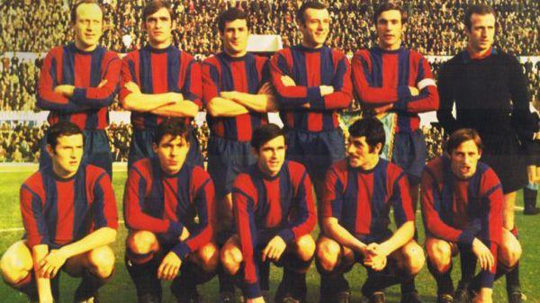 Il Catania 1968/69 schierato all'Olimpico di Roma contro la Lazio